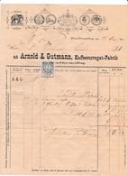 """Fattura Comm. Con Marca Da Bollo -  Wien-Obermeidling , Kaffesurrogat Fabrik   """" An Arnold  &  Gutmann  """" - Autriche"""