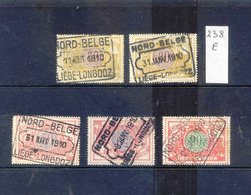 NB 238e   Nord - Belge Stempel LIEGE LONGDOZ     5  Zegels 1910 - Chemins De Fer