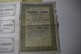 Tramways D'Odessa 500 Frs Capital 6,3 Millions 1892 Bruxelles Vert - Chemin De Fer & Tramway