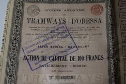 Tramways D'Odessa 100 Frs 1908 Bruxelles - Chemin De Fer & Tramway