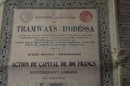 Tramways D'Odessa 100 Frs 1912 Bruxelles - Chemin De Fer & Tramway