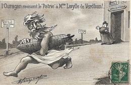 """L'Ouragan Ravissant Le """"Patrie""""... (carte Signée Au Verso Par Son Illustrateur) - Humour"""