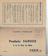Carte Postale PRODUITS SANDOZ - Paris - 1927 - France