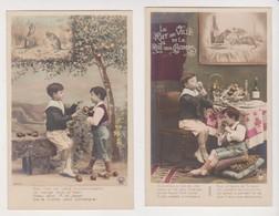 27943 Deux Cpa Série Croissant 3143/1&5 Fable Rat De Ville Rat Champs - La Fontaine -garconnet Boy Pomme Repas Meat - Vertellingen, Fabels & Legenden