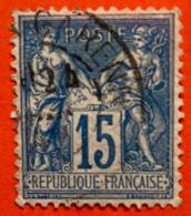 15c Type Sage Oblitéré Variété Tache Sur Le Coude - Altri