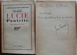 C1 Jean PREVOST - LUCIE PAULETTE NRF 1935 Envoi DEDICACE Autographe SIGNED PORT INCLUS - Libros Autografiados