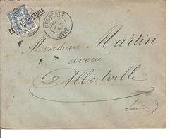 Obl DAGUIN Type Sage II 15c ,Grenoble Pour Alberville Papier D'Affaire - 1876-1898 Sage (Type II)