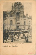 BRUXELLES  LE MARCHE ET L'EGLISE DE ST GILLES - Belgium