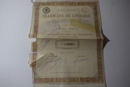 Tramways De Livourne Action Ordinaire 1885 Bruxelles - Chemin De Fer & Tramway