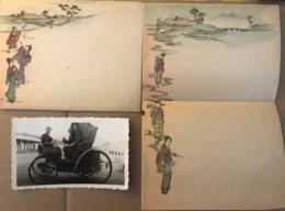 JAPAN - Papier à Lettre Et Enveloppe Décorée De Geishas + Une Photo D'une Automobile à Déterminer - Andere