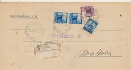 DEMOCRATICA RACCOMANDATA TRICOLORE 2X30+20+5 - 1946-60: Marcofilie