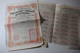 République Chinoise Bon Du Trésor 8 % 1920 Chemin De Fer Lung-Tsing-U-Haï - Asie