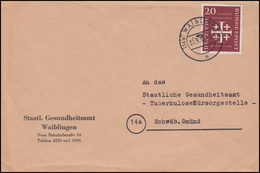 236 Kirchentag 20 Pf EF Bf Gesundheitsamt Tuberkulosefürsorge WAIBLINGEN 1.9.56 - Disease
