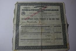 Compagnie Mines De Potasse De Blodelsheim Alsace 500 Frs 1929 Nominatives Marchant Félix - Mines