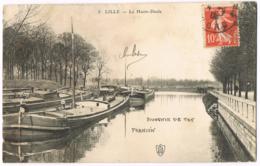 Lille - La Haute-Deule - 8 - Animée - Péniches - Circulé 1909 - Mlle Georgette DAVID - Lille