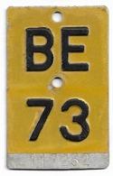 Velonummer Mofanummer Bern BE 73 - Nummerplaten