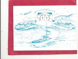 """DOUBLE-CARTE DE MEILLEURS VOEUX Des ETS """" H.C.T. """" Quai GENERAL LAWTON COLLINS - CHERBOURG POUR 2001 - Cherbourg"""