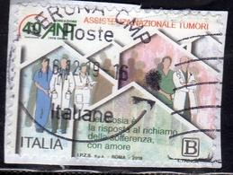 ITALIA REPUBBLICA ITALY REPUBLIC 2018 IL SENSO CIVICO ASSISTENZA NAZIONALE TUMORI B USATO USED OBLITERE' - 6. 1946-.. Repubblica
