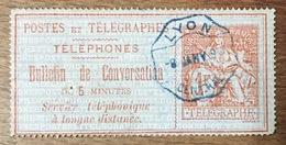 TIMBRE TÉLÉPHONE 1F SERVICE TÉLÉPHONIQUE À LONGUE DISTANCE OBLITERATION LYON - Telegramas Y Teléfonos