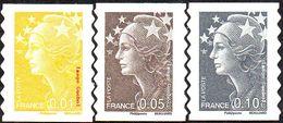 France Marianne De Beaujard Autoadhésif N°  208.- 209 Et 210 ** Aux Modèles 4226 à 4228. Soit Les 0.01+0.05+010€ - 2008-13 Marianne De Beaujard