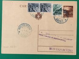 19456. MONTEFORTINO INTERO POSTALE USATO COM AVVISO RICEVIMENTO - 1946-60: Storia Postale
