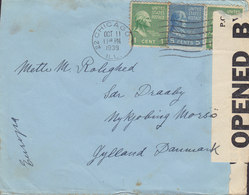 United States CHICAGO Ill. 1939 Cover Brief NYKJØBING MORSÖ Denmark OPENED BY CENSOR '1203' Label (2 Scans) - Covers & Documents