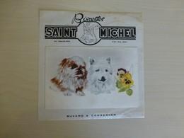 Buvard-carte Postale Biscottes Saint-Michel, Chiens Dessinés  Ref 1703 ; BU 02B - Non Classés
