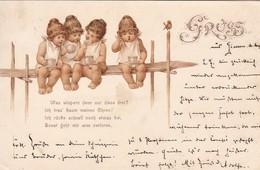 AK Was Wispern Denn Nur Diese Drei? - Kinder Auf Holzsteg - Humor - 1898 (49605) - Cartes Humoristiques