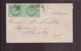 France, Enveloppe Avec Paire Cérès N° 53 Pour Abbeville - 1849-1876: Klassieke Periode