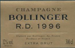 Etiquette CHAMPAGNE Bollinger Millésime RD 1996 - Champagne