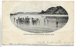 Old Postcard, Kosciusko, Winter Scene On Lake Winona, People On Ice, 1907. - Fort Wayne