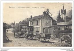 CPA 38 Seyssins La Gare L'église Et Le Train Tramway Ligne De Grenoble Villards De Lans - Francia