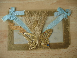 Belle Carte Fantaisie  Papillon Butterfly Herbe Factice  Carte Celluloid - Other