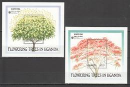 D581 UGANDA PLANTS FLOWERS FLOWERING TREES 2BL MNH - Arbres