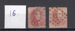 Belgie - Belgique Ocb Nr : 16  Lots Differents Obliterations Mixed Lot    (zie  Scan) - 1863-1864 Medallions (13/16)