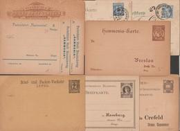 Postes Privées Allemandes : 2 Cartes, 6 Entiers Postaux. Braunschweig, Breslau, Leipzig Hambourg Crefeld Auerbach Brême - Poste Privée