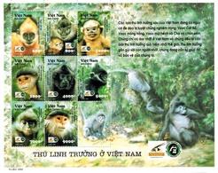 MDA-BK26-461 MINT ¤ VIETNAM 2002 9w In Serie  ¤ ENDANGERED ANIMALS - WILD ANIMALS - MONKEYS - Chimpancés