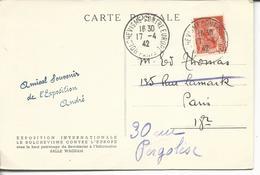 Carte Postale Expo Internationale Le Bolchevisme Contre L'Europe Et Cachet Concordant - Marcophilie (Lettres)