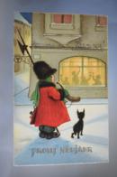 B189 Prosit Neujahr Boy Cat Happy New Year - 1900-1949
