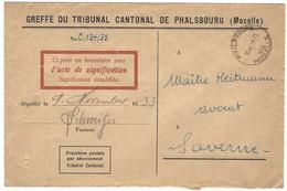 PHALSBOURG Autoplan 9.11.1933 En Franchise - Marcophilie (Lettres)