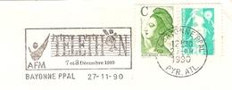 CACHET OBLITERATION FLAMME  BAYONNE TELETHON AFM SUR ENVELOPPE 16X11 - 1961-....