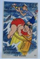 Carte Postale Fantaisie Illustrée à Système Images A Volet La Baule Tonneau SOS Grosse Femme Baigneuse - Mechanical