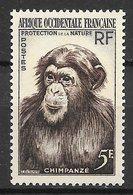 Mammifère - Afrique Occidentale Française N°51 Singe Chimpanzé 1955 ** - Chimpancés