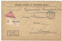 SARREBOURG C Lettre Recommandée Contre Remboursement 16.2.1933 En Franchise - Postmark Collection (Covers)