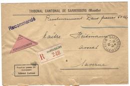 SARREBOURG C Lettre Recommandée Contre Remboursement 11.3.1933 En Franchise - Postmark Collection (Covers)