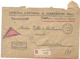 SARREBOURG Lettre Recommandée Contre Remboursement 6.3.1934 En Franchise - Postmark Collection (Covers)