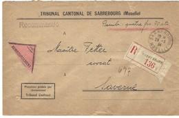 SARREBOURG Lettre Recommandée Contre Remboursement 29.3.1934 En Franchise - Postmark Collection (Covers)