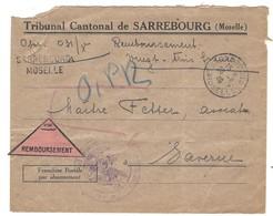 SARREBOURG LR - Cachet Provisoire 2 Lignes - Contre Remboursement 26.6.1946 En Franchise - Postmark Collection (Covers)