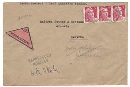 SARREBOURG LR - Cachet Provisoire 2 Lignes - Contre Remboursement 2.5.1946 Gandon 3F Bande De 3 - Postmark Collection (Covers)
