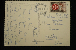 Ordre De Malte  N°1062 Seul Sur CP Saint Gingolph 4/6/56 - Marcophilie (Lettres)
